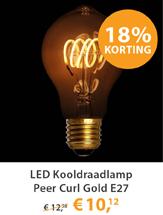 LED Kooldraadlamp Peer Curl Gold E27 4W